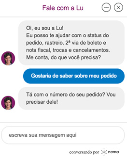 Chatbot do site Magazine Luiza